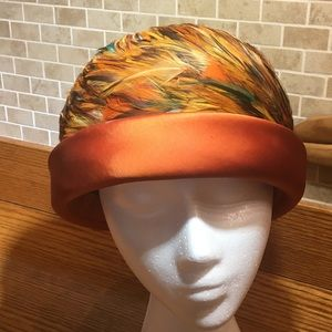 Rust Feathered hat from Grandma Jahn Collection
